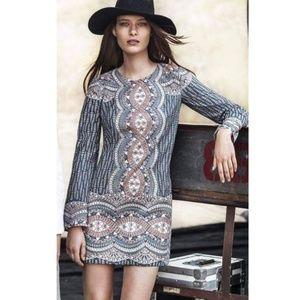 BCBGMaxAzria Blue Art Deco Allina Shift Dress